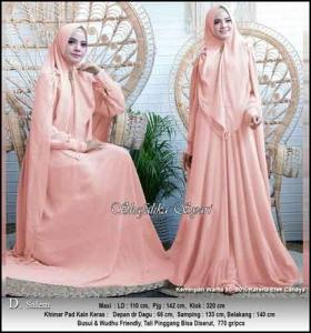 Jual Baju Gamis Shafalika Syar'i untuk Pesta Warna-Salem Bahan Ceruti Premium