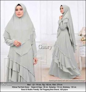Supplier Baju Gamis Pesta Polos Cantik Gaury Syar'i Warna Abu Bahan Ceruti