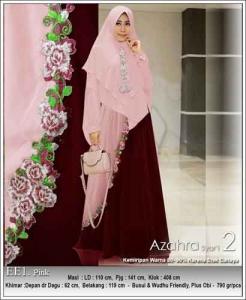 Jual Gamis Azahra Syar'i Terbaru Warna Pink Bahan Ceruti
