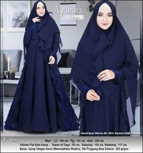 Supplier Baju Pesta Muslim Alayndra Syar'i warna Navy Bahan Brukat Kombi