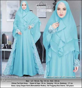 Supplier Baju Pesta Muslim Alyandra Syar'i warna Biru Bahan Brukat Kombinasi