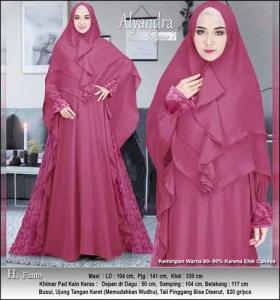 Supplier Baju Pesta Muslim Alyandra Syar'i warna Fanta Bahan Brukat Kombinasi