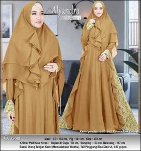 Supplier Baju Pesta Muslim Alyandra Syar'i warna Gold Bahan Brukat Kombinasi