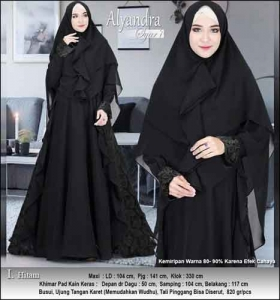 Supplier Baju Pesta Muslim Alyandra Syar'i warna Hitam Bahan Brukat Kombinasi