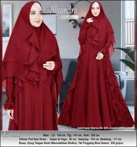 Supplier Baju Pesta Muslim Alyandra Syar'i warna Merah Bahan Brukat Kombinasi