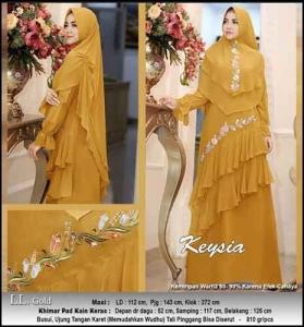 Jual Online Baju Gamis Pesta Keysia Syar'i Warna Gold Bahan Ceruti