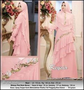 Jual Online Baju Gamis Pesta Keysia Syar'i Warna Pink Muda Bahan Ceruti