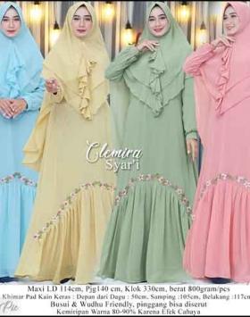 Supplier Baju Gamis Pesta Cantik Terbaru Clemira Syar'i warna All Bahan Ceruti