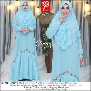 Supplier Baju Gamis Pesta Cantik Terbaru Clemira Syar'i warna Biru Muda Bahan Ceruti