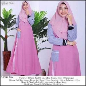 Gamis Daily Murah Zahra Maxi Warna Pink Tua Bahan woolpeach
