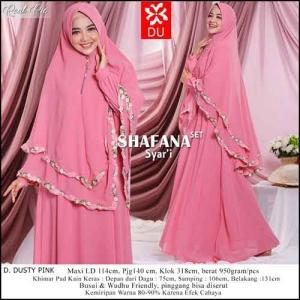 Gamis Polos Terbaru Cantik Shafana Syar'i Warna Dusty Pink Bahan Ceruti