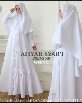 Jual Online Baju Gamis Aisyah Syar'i Polos warna Putih Bahan wollycrepe