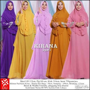 Baju Gamis Pesta Kirana Syar'i 5 warna bahan Ceruti Kombinasi Bordir