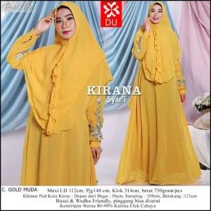Baju Gamis Pesta Kirana Syar'i warna Gold Muda bahan Ceruti Kombinasi Bordir