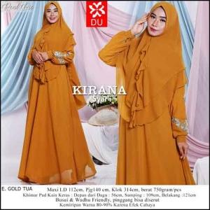 Baju Gamis Pesta Kirana Syar'i warna Gold Tua bahan Ceruti Kombinasi Bordir
