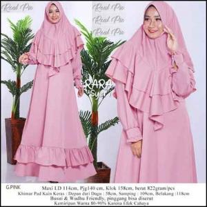 Jual Gamis Polos Murah Rara Syar'i warna Pink Bahan Baloteli