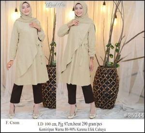 Baju Atasan Wanita Muslim Terbaru Raisa Tunik Warna Cream Bahan Linen Rami