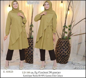 Baju Atasan Wanita Muslim Terbaru Raisa Tunik Warna Gold Bahan Linen Rami