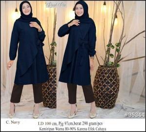 Baju Atasan Wanita Muslim Terbaru Raisa Tunik Warna Navy Bahan Linen Rami