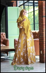 Gamis Harian Terbaru Dinara Dress Warna Mustard Bahan Rayon Uniqlo