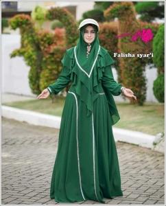 Gamis Polos Terbaru Cantik Falisha Syar'i Warna darkgreen Bahan Ceruty Baby doll