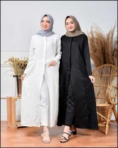 Jual Busana Muslim Modern Wilona Set Warna Hitam dan Putih Bahan Moscrepe dan Brokat