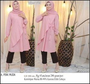 Raisa TuBaju Atasan Wanita Muslim Terbaru Raisa Tunik Warna Pink Muda Bahan Linen Rami