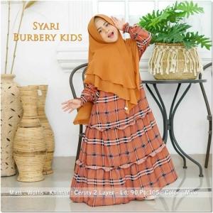 Baju Gamis Anak Perempuan Burbery Kids Syar'i warna Mocca bahan wolfis