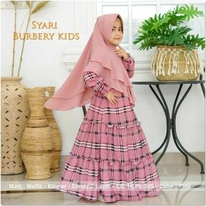 Baju Gamis Anak Perempuan Burbery Kids Syar'i warna Pink bahan wolfis