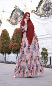 Baju Gamis Cantik Murah Iswara Six Dress warna Red Bahan Rayon