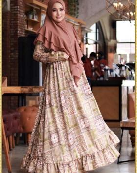 Gamis Geisha Syar'i bermotif terbaru warna-Caramel Bahan Maxmara Lux