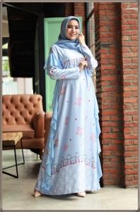 Gamis Murah Terkini Kinara Dres warna Softblue Bahan Maxmara Kombi Ceruti