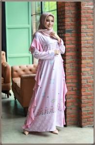 Gamis Murah Terkini Kinara Dres warna Softpink Bahan Maxmara Kombi Ceruti