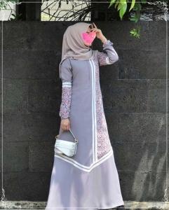 Gamis Polos Kombinasi Haifa Dress Bahan Woolpeach