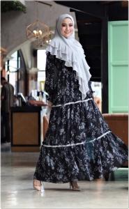 Supplier Busana Muslim Pesta bermotif Viola Syar'i warna Black Bahan ceruty