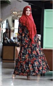 Supplier Busana Muslim Pesta bermotif Viola Syar'i warna red Bahan ceruty