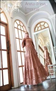 Areta Dress Warna Broklat Mocca Bahan Brokat Premium 1