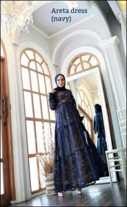 Areta Dress Warna Navy Bahan Brokat Premium