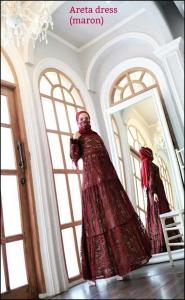 Areta Dress Warna maron Bahan Brokat Premium