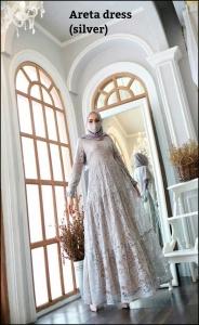 Areta Dress Warna silver Bahan Brokat Premium