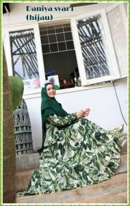 Baju Gamis Daniya Syar'i terbaru kekinian warna hijau Bahan Ceruti