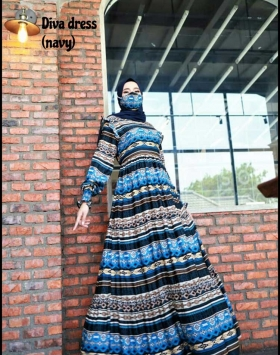Baju Gamis Dewasa Modis Diva Dress warna Navy Ukuran Kecil
