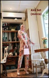 Baju Setelan Celana Hijab Terbaru Ava Set warna Mocca Bahan Katun Rayon