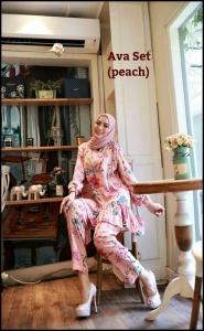 Baju Setelan Celana Hijab Terbaru Ava Set warna Peach Bahan Katun Rayon