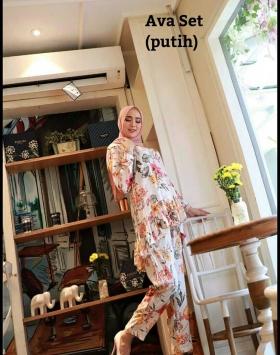 Baju Setelan Celana Hijab Terbaru Ava Set warna Putih Bahan Katun Rayon