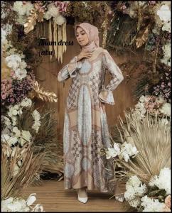Jual Baju Gamis Terbaru Anum Dress warna Abu Bahan Maxmara Lux