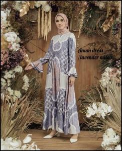 Jual Baju Gamis Terbaru Anum Dress warna Lavender Milo Bahan Maxmara Lux