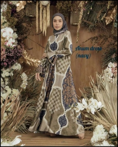 Jual Baju Gamis Terbaru Anum Dress warna Navy Bahan Maxmara Lux