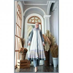 Baju Setelan Celana Muslim Terbaru 2021 Dilara Set Warna Grey Bahan Maxmara
