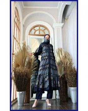 Baju Setelan Celana Muslim Terbaru 2021 Dilara Set Warna Navy Bahan mamara